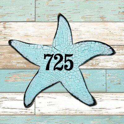 Designocracy Starfish House Door Wall Mailbox 1 Line Plaque Coastal Door Wall Address Numbers Sign House Address Sign House Numbers House Number Plaque