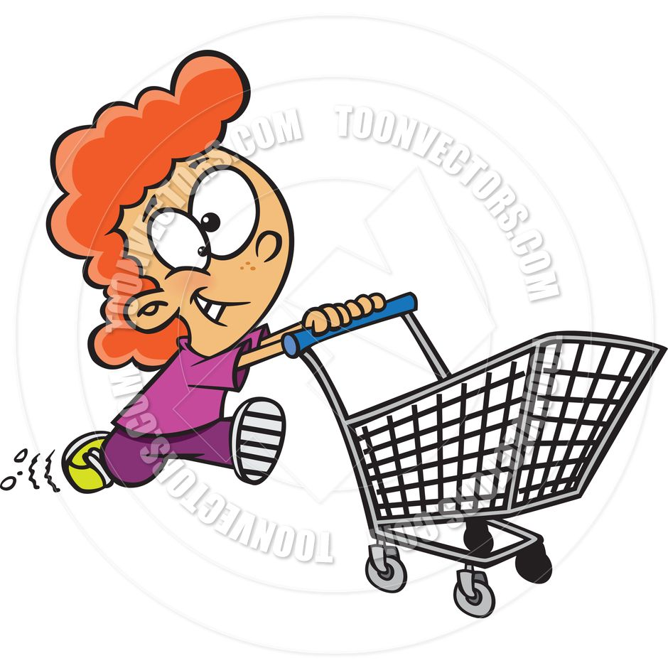 Cartoon Little Girl Pushing A Shopping Cart By Ron Leishman Toon