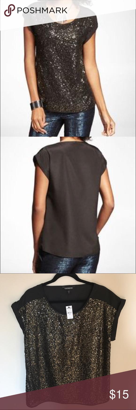 Express short sleeve sequin embellished easy tee nwt plain black