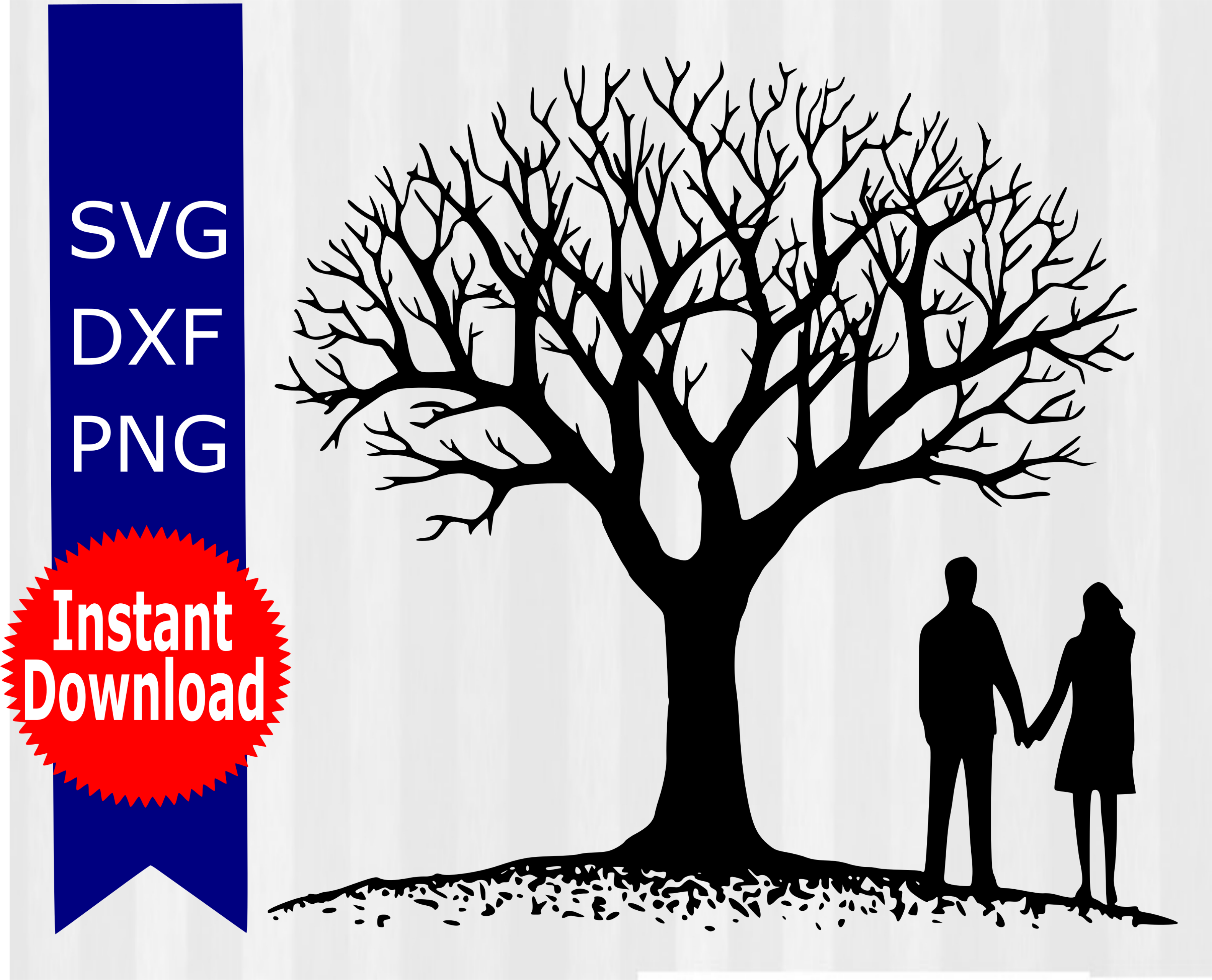Beautiful vector design of a tree with couple holding