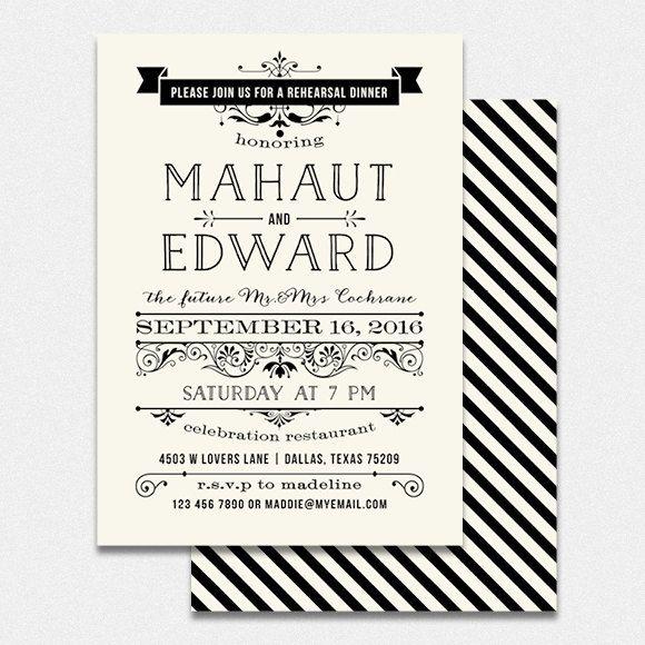 wedding rehearsal dinner invitation diy by