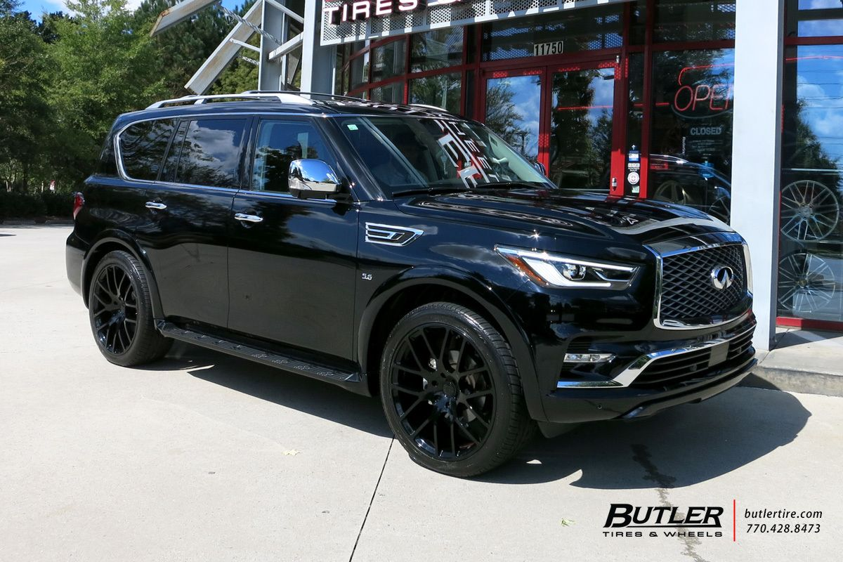 Infiniti Qx80 With 24in Black Rhino Kunene Wheels Black Wheels Suv Infinity Suv Infiniti