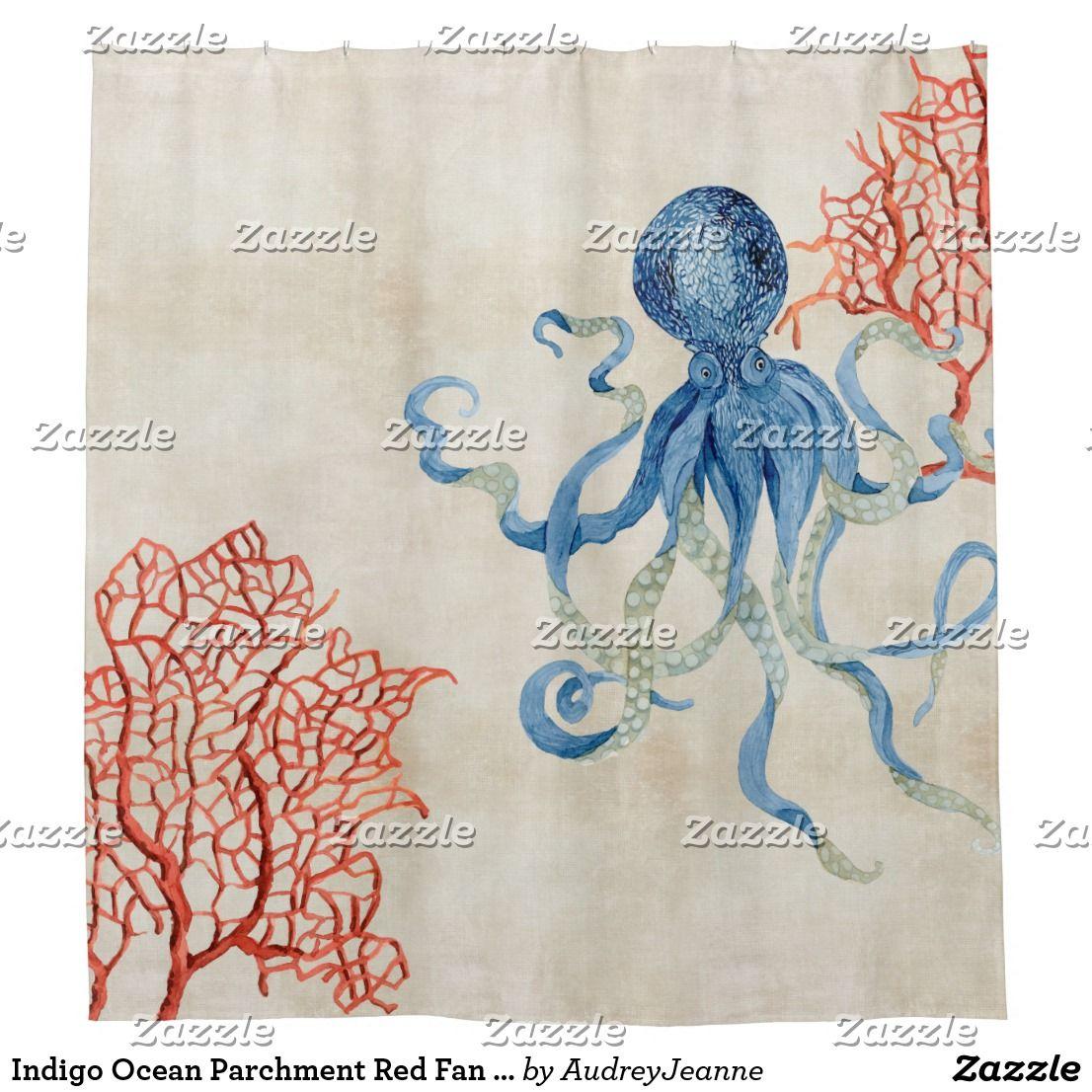 Indigo Ocean Parchment Red Fan Coral Blue Octopus Shower Curtain ...