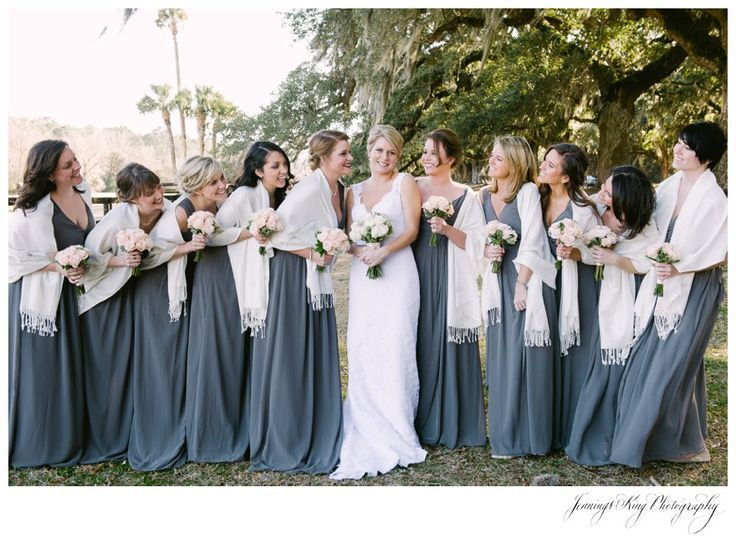 Bridesmaids With Burgundy Dresses And Shawls