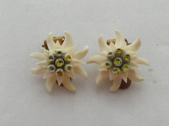 Vintage Edelweiss Earrings by BlueAngelJewellery on Etsy, £8.00