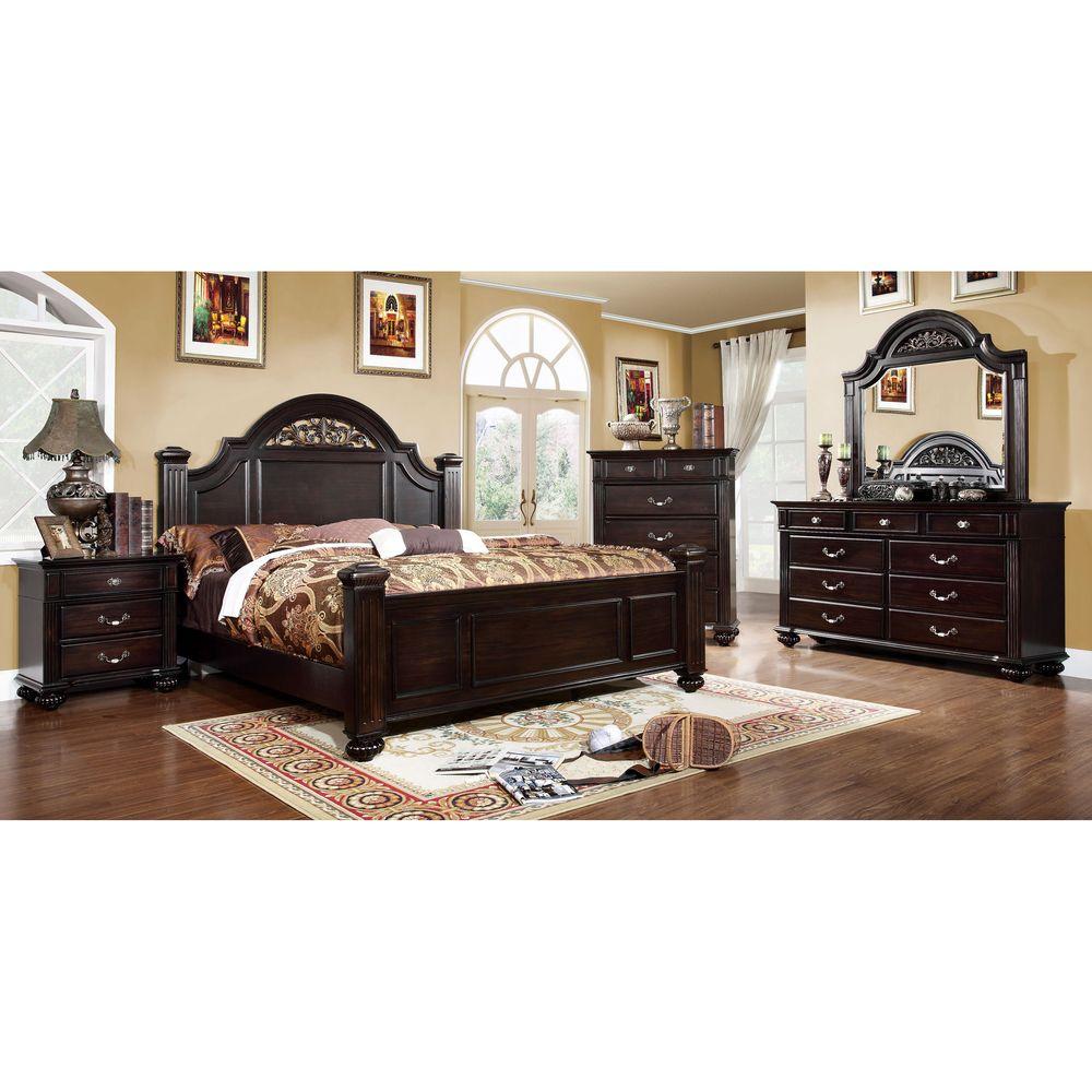 Furniture of America Grande 4Piece Dark Walnut Bedroom