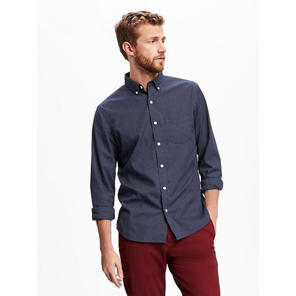 2164d7482e0686 Old Navy Mens Slim Fit Poplin Shirt ($15) ❤ liked on Polyvore featuring  men's fashion, men's clothing, men's shirts, men's casual shirts, blue, mens  button ...