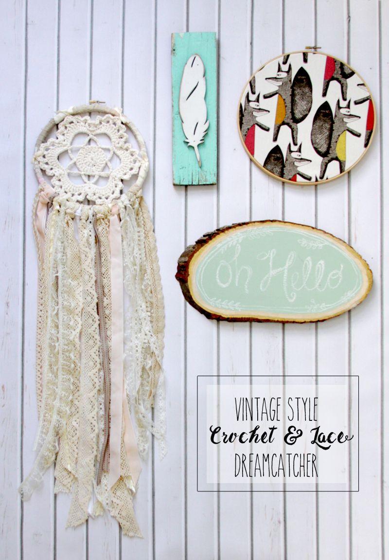 Vintage Style Crochet and Lace Dreamcatcher - | Sisal, Arpillera y ...