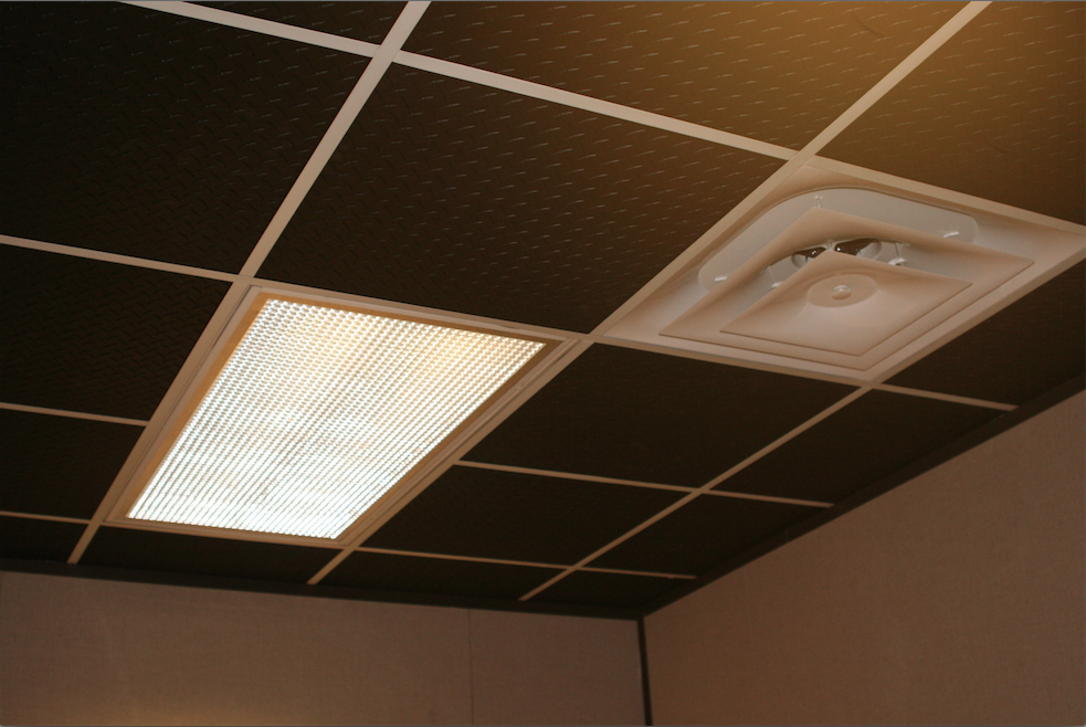 Ceilume's Black Diamond Plate Ceiling Tiles are perfect for creating a unique looking ceiling without sacrificing practicality!