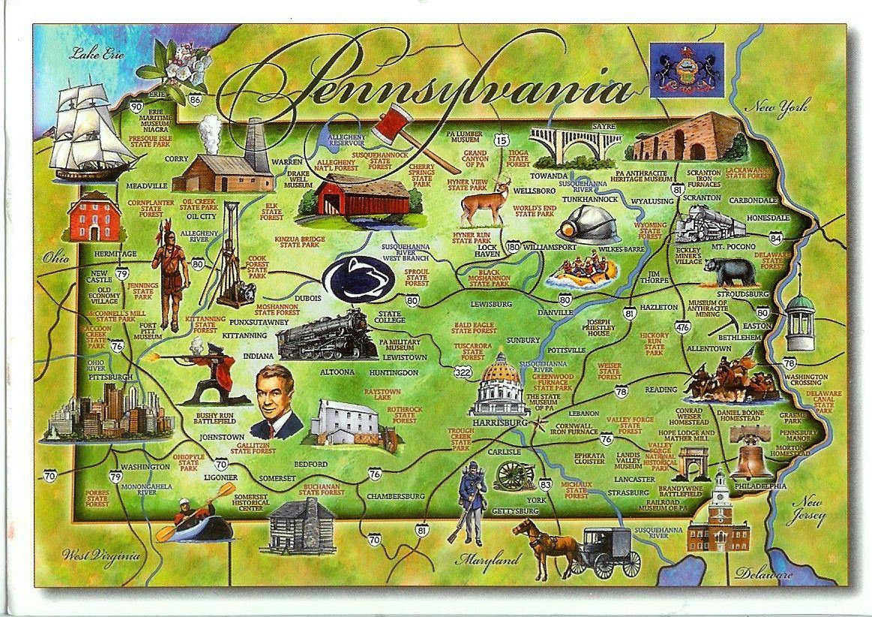 whatispennsylvaniaknownfor USA Pennsylvania Map PA