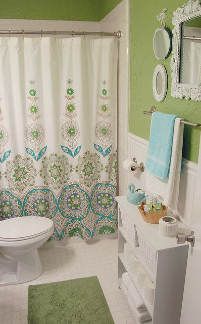 Love The Color Scheme And Shower Curtain Nice Blue Green White Contrast Good Style Without Being Overdone
