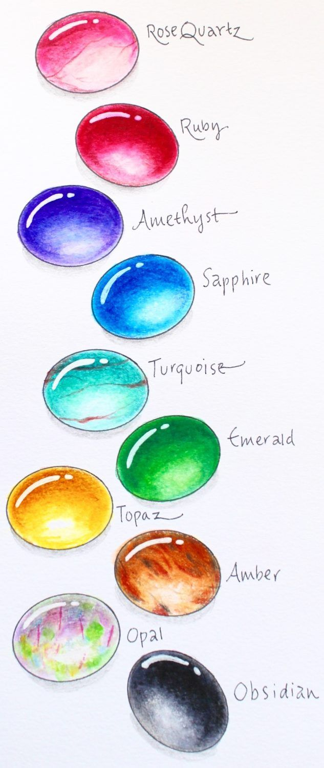 How to Draw Gems with Markers and Colored Pencils | Tombow markers ...