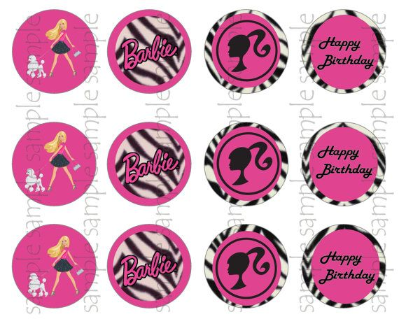 Barbie Cake size Logo and 6 Barbie Cupcake Size Toppers