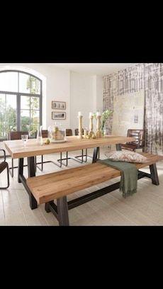1 Table 1 Benche In Edmonton Letgo Dining Table With Bench Metal Dining Table Wooden Dining Room Table