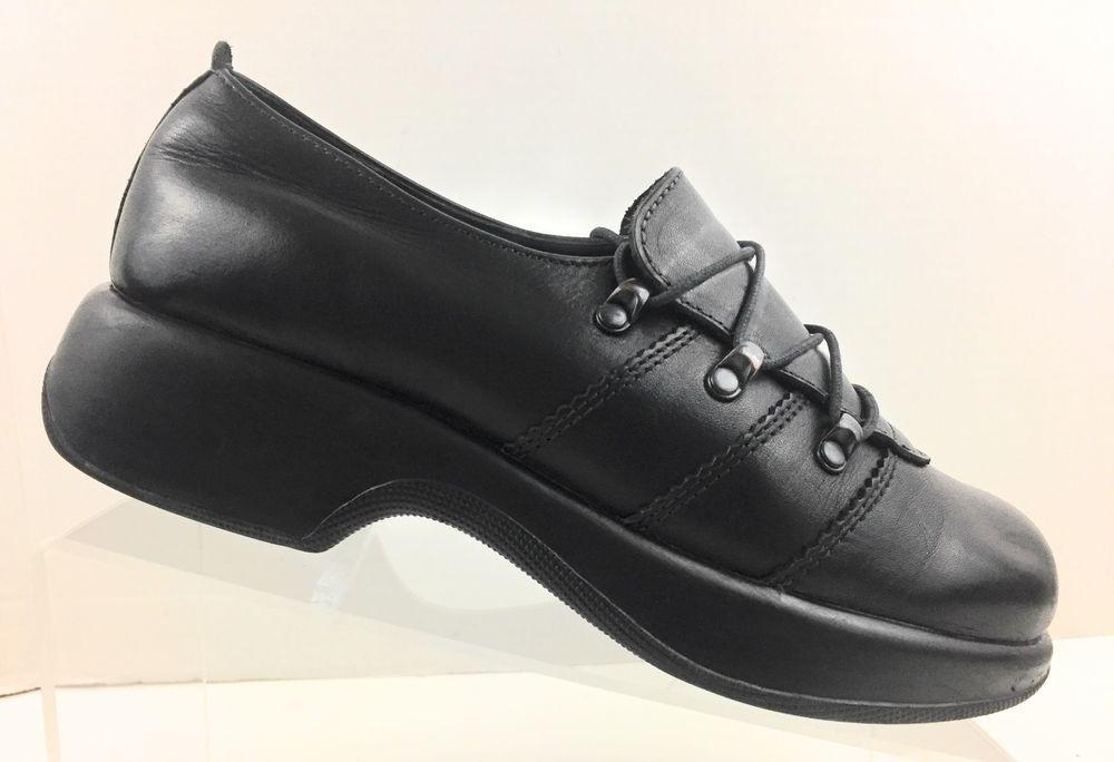 Dansko Black Leather Lace Up Chunky Heel Women's Shoe EU 39 US 8.5-9  Portugal