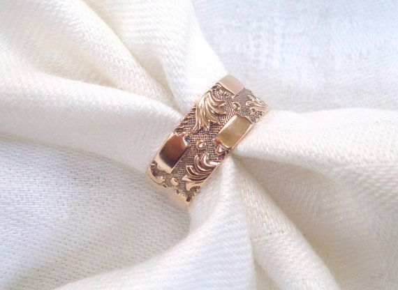 Antique Gold Ring Victorian All Gold Cigar Band Wedding or Right