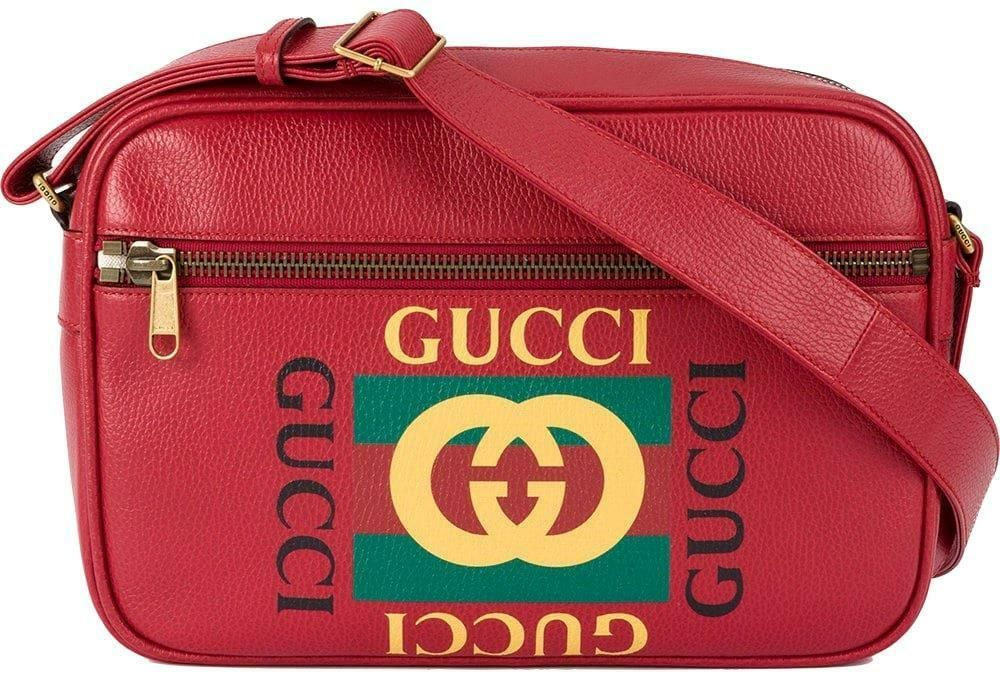 c4e8f6911c94 NEW GUCCI RED LEATHER CURRENT VINTAGE LOGO LARGE MESSENGER CROSSBODY BAG  UNISEX