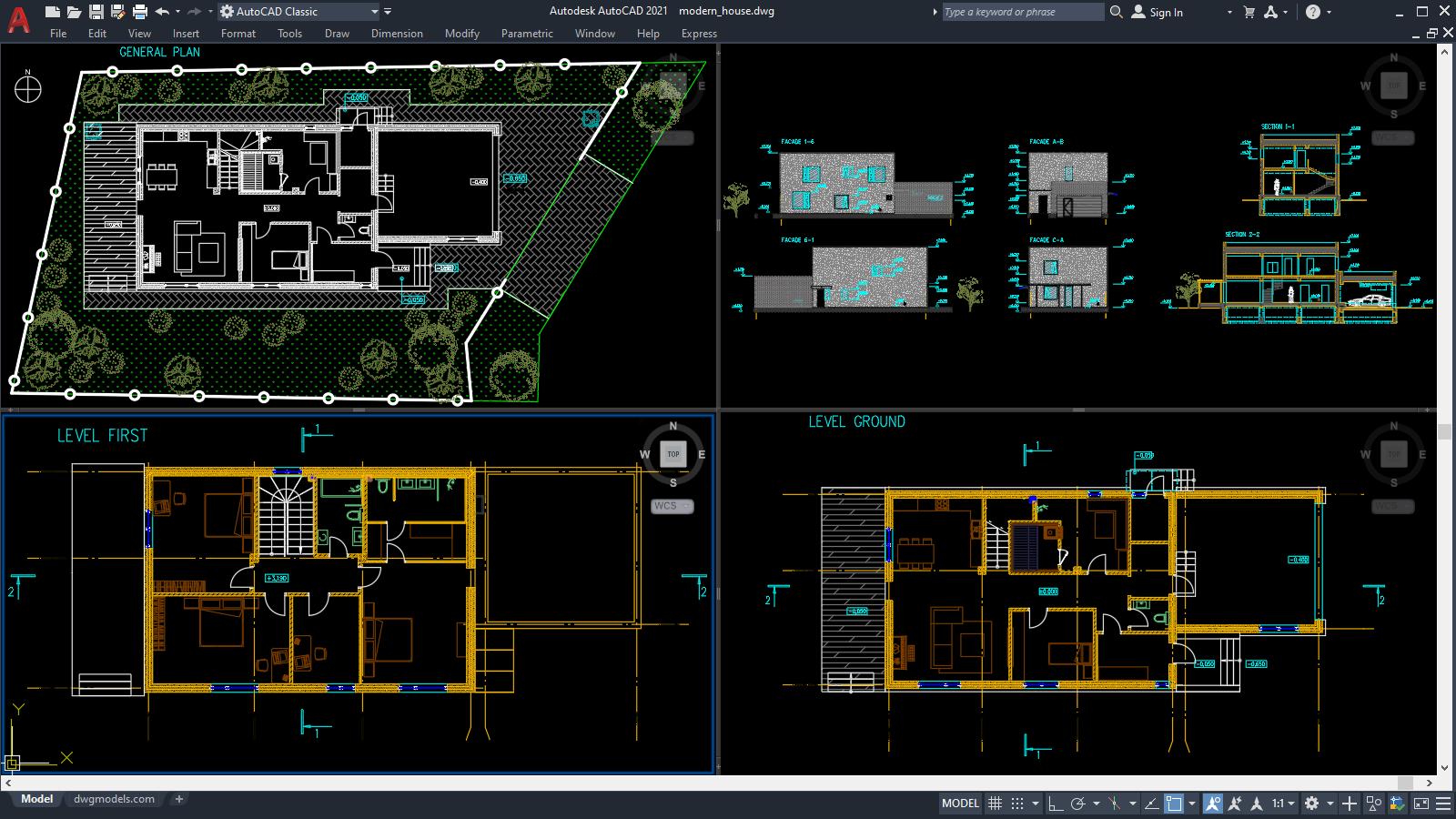 Pin On Modern House Plan Dwg
