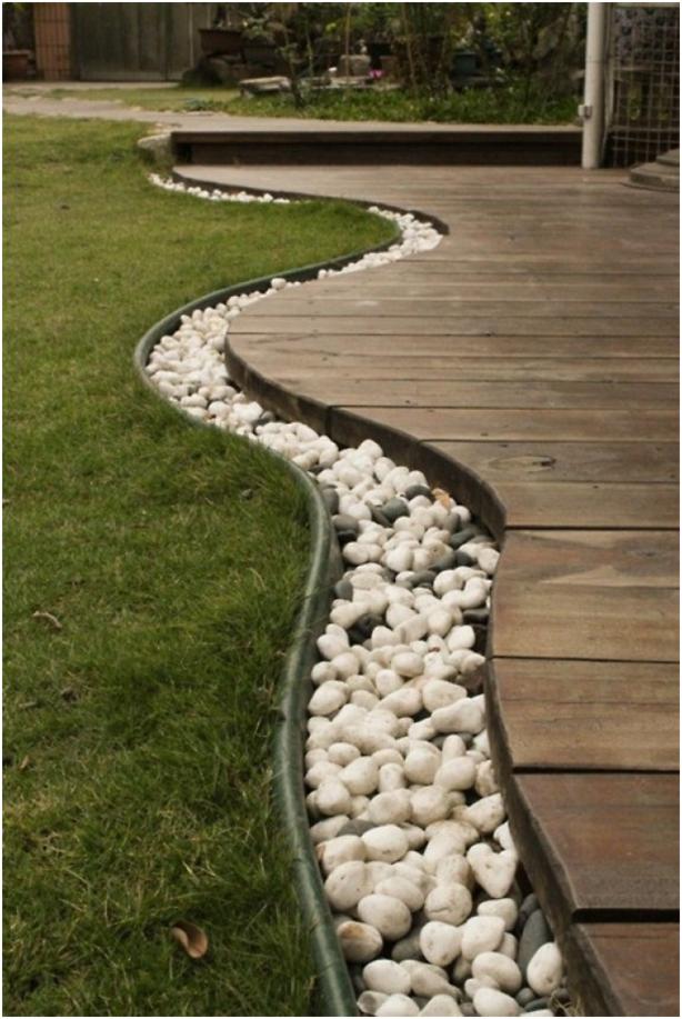 Spiksplinternieuw Afscheiding met steentjes tussen terras en gazon | Inspiratie voor PV-25
