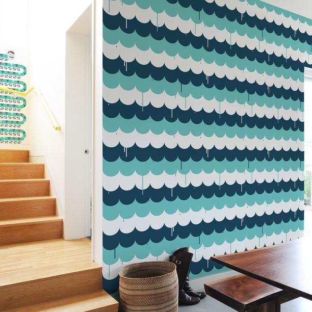 #Scallops #Pattern #Wall #Tiles #art, #blue, #white – for a #liquid #wallpaper drippy-drap feeling