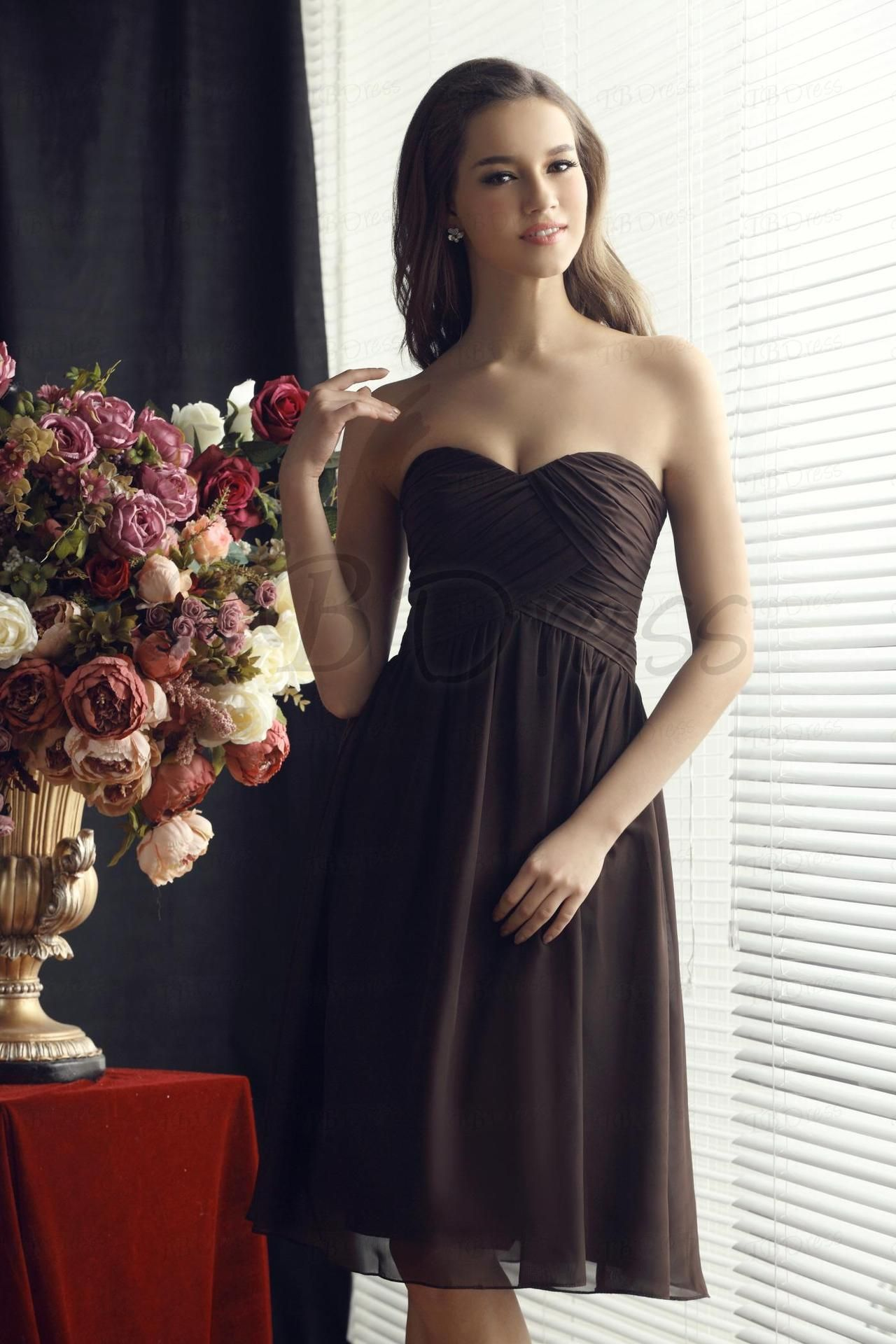Delicate Ruched Aline Sweetheart Short Bridesmaid Dress