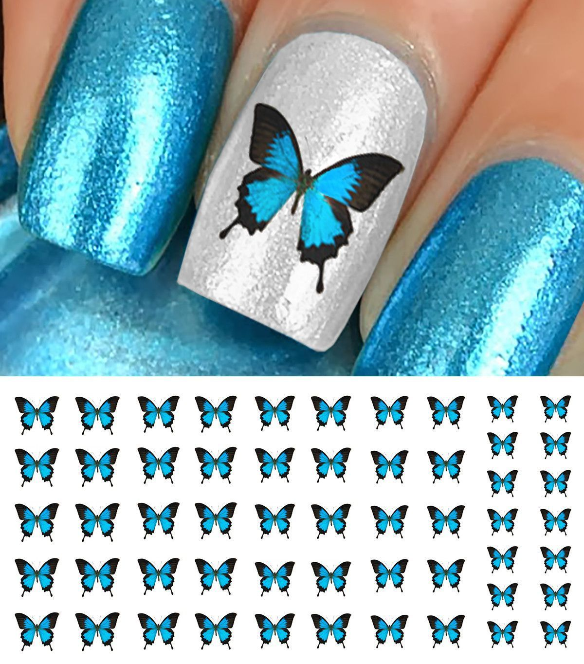 Blue butterfly nail decals butterfly nail art best nail