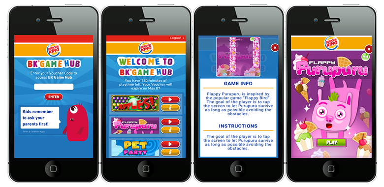 The various screens from the Burger King New Zealand Kids
