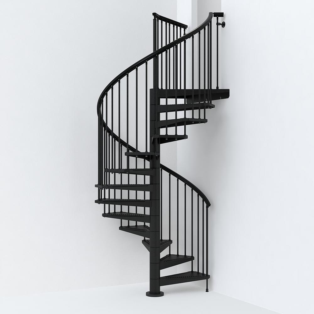 Sky030 63 In Black Spiral Staircase Kit K26292 The Home Depot | Prefab Stairs Outdoor Home Depot | Precast Concrete Steps | Patio | Wrought Iron | Porch | Stair Riser