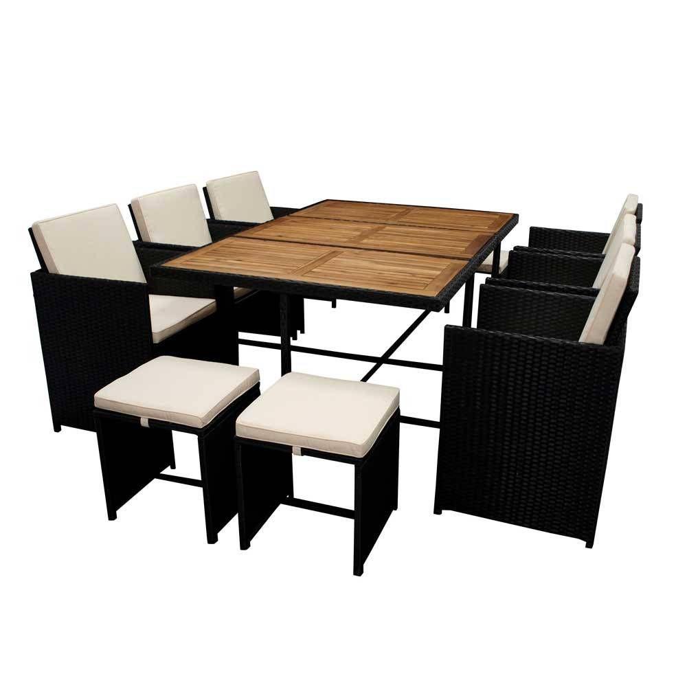 Garten Essgruppe Mit 10 Sitzplatzen Aus Polyrattan Akazie Wevera 11 Teilig In 2020 Wohnzimmertische Garten Essgruppe Gartenmobel Sets