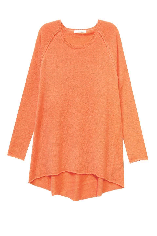 Sale 100% Cashmere Cozy Swing Sweater in Mango