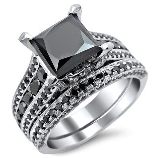 18k White Gold 3.8ct TDW Princess Cut Black Diamond Ring ...