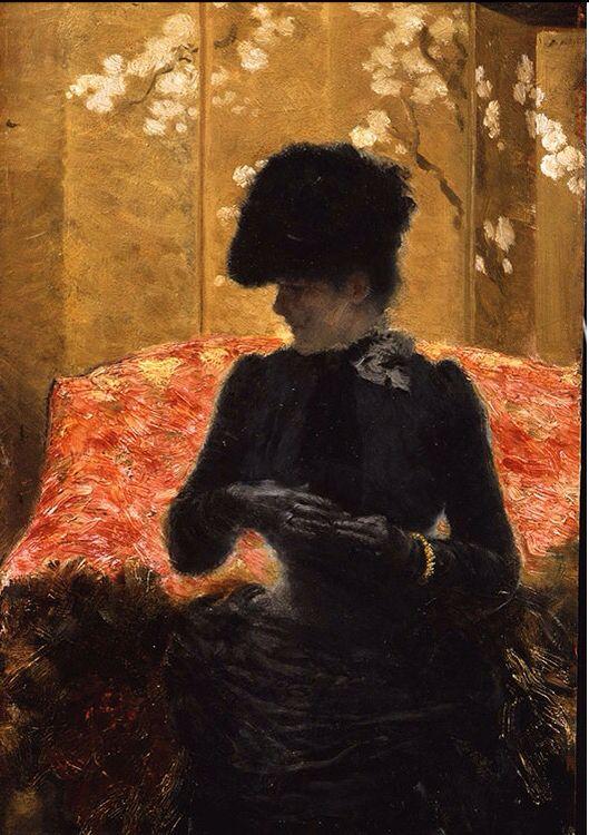 Giuseppe De Nittis - Signora sul divano rosso