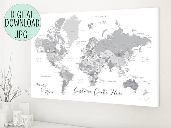 Printable world map grayscale world map canvas print custom printable world map grayscale world map canvas print custom gumiabroncs Image collections
