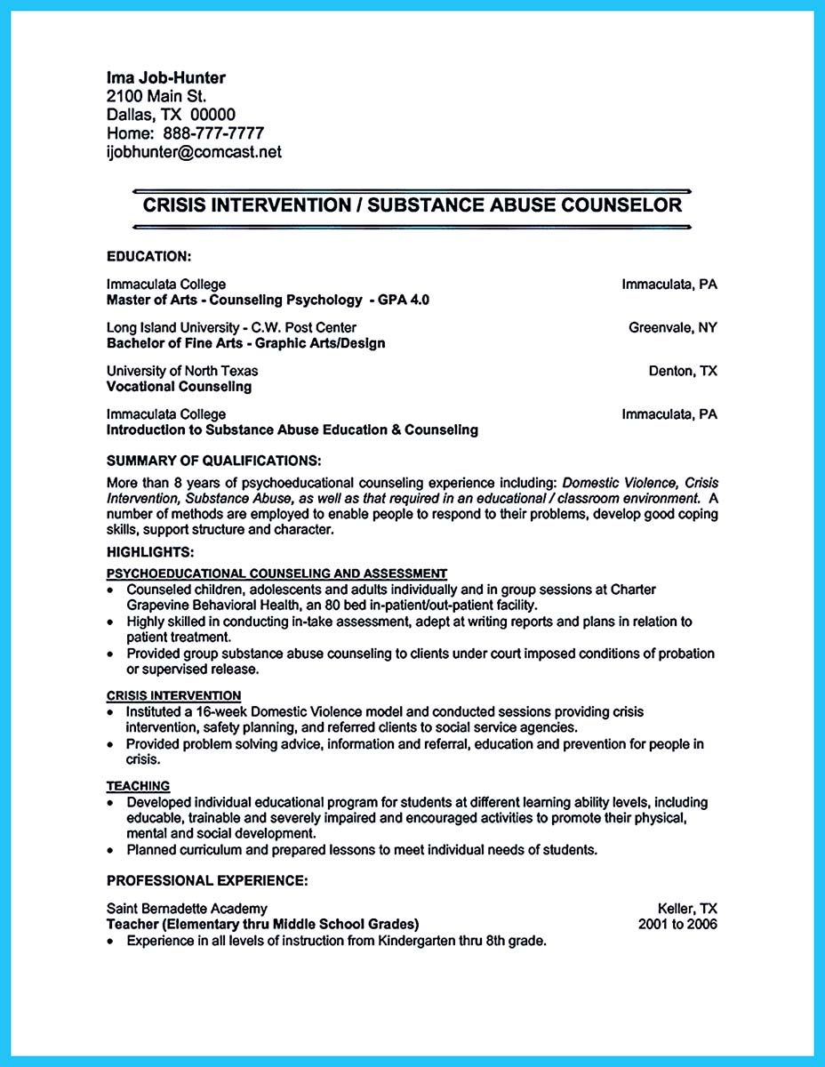 awesome Outstanding Counseling Resume Examples to Get Approved ...