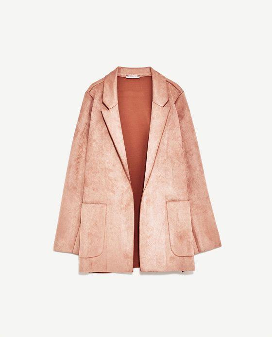 Image 6 Of Faux Suede Blazer From Zara Suede Blazer Pink Jacket Zara Women