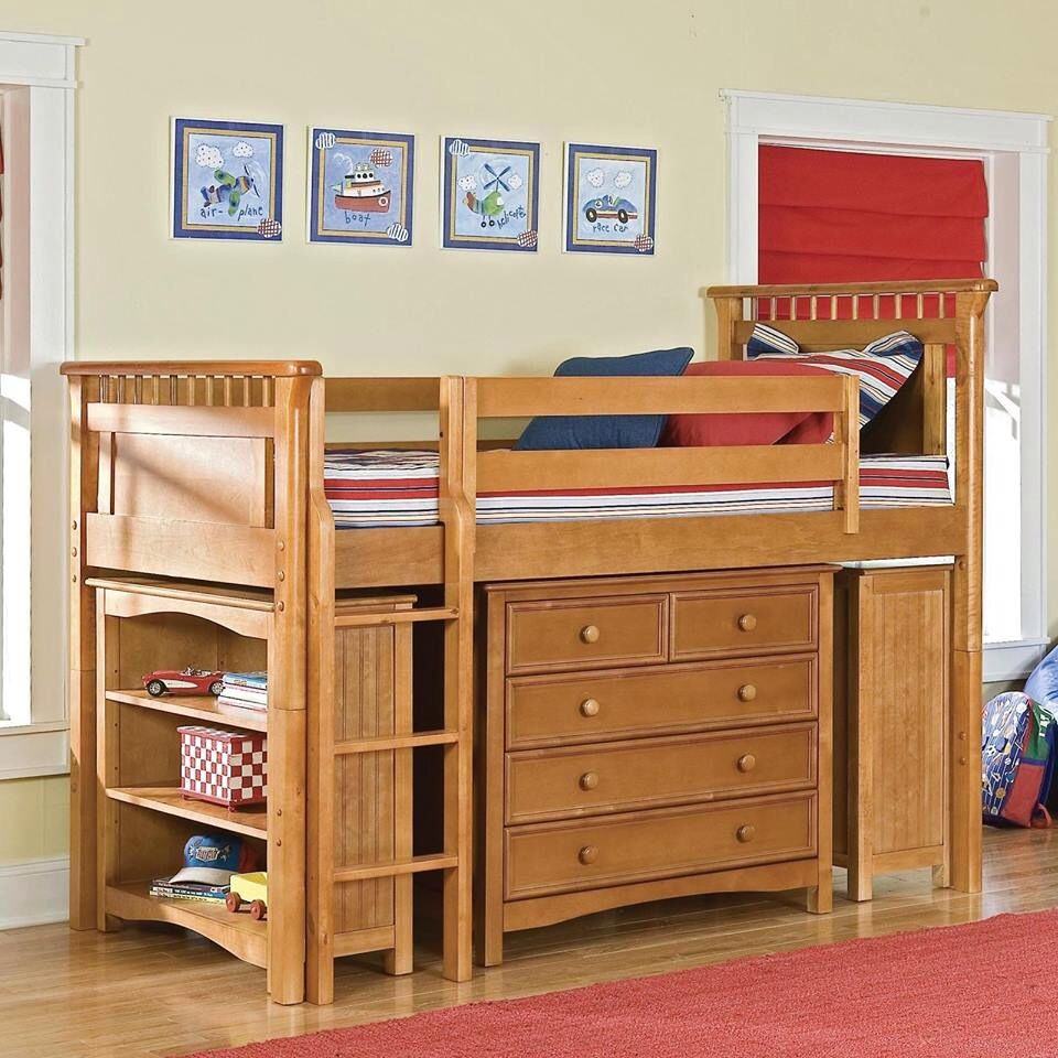 Low loft bed with desk and dresser  Muy buena idea para optimizar espacio  casa  Pinterest  House