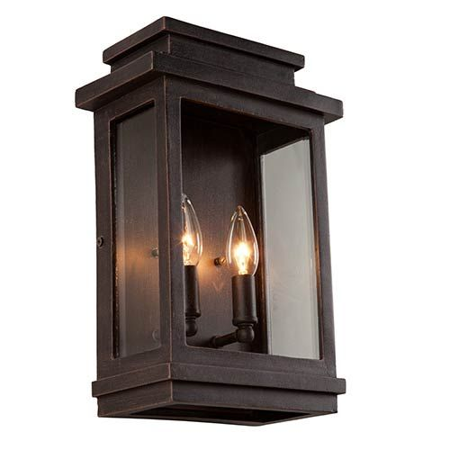 Fremont Oil Rubbed Bronze Two Light 13 5 Inch High Outdoor Wall Sconce Artcraft