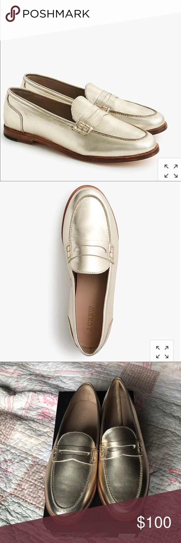 93649960937 J. Crew Gold Nora Penny Loafers - never worn Beautiful gold penny loafers.  Brand
