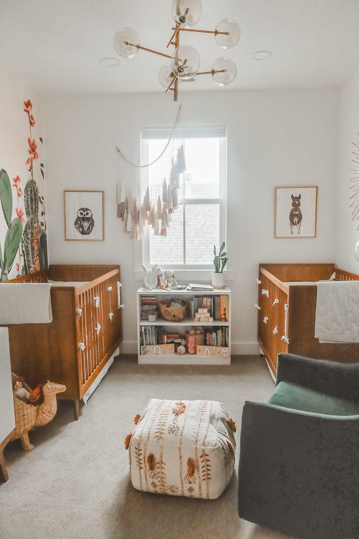 Cactus Themed Desert Oasis Twin Girl Nursery In 2020 Baby Girl Room Decor Baby Girl Room Colors Twin Girls Nursery