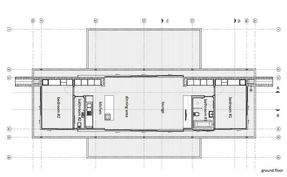 Moderna casa de campo con estructura de acero y muros de piedra que ...