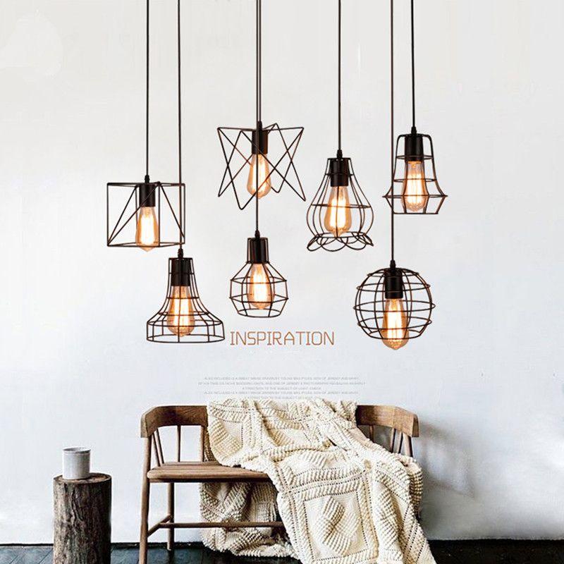 loft industrial iron cage. Vintage Loft Pendant Lights Iron Cage Lampshade Hanging Lamp E27 Kitchen Light Fixture Industrial Warehouse Luminaria