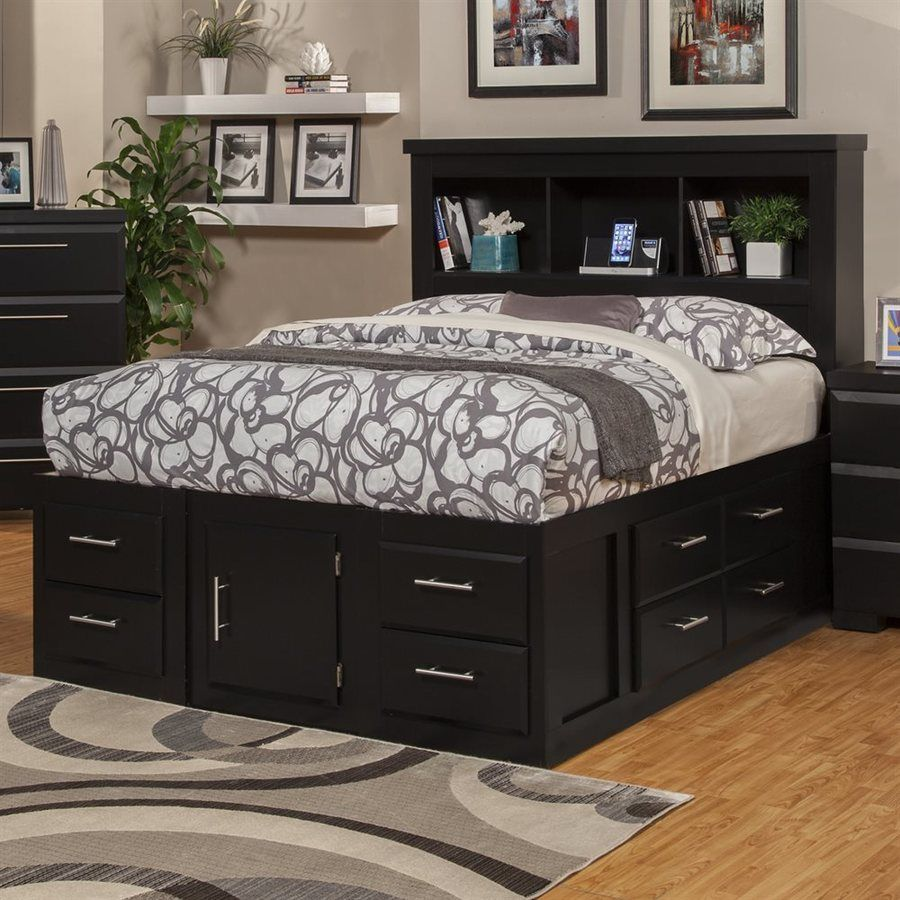 Best Sandberg Furniture Serenity Black Queen Captain Bed With 400 x 300