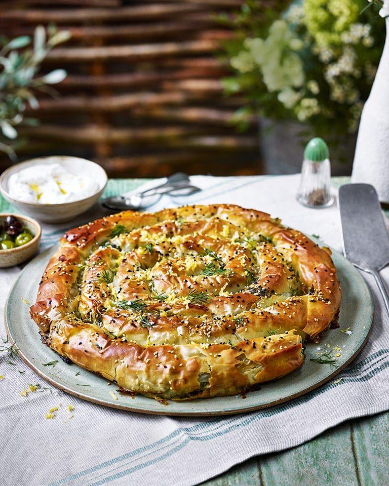 Spinach and feta filo swirl pie recipe | delicious. Magazine