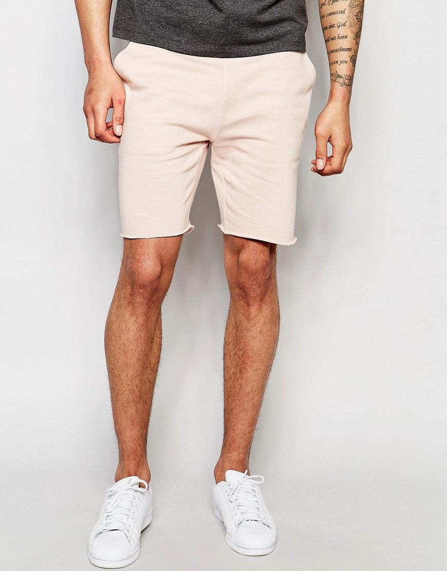 Image 1 of ASOS Mid Length Jersey Shorts In Light Pink