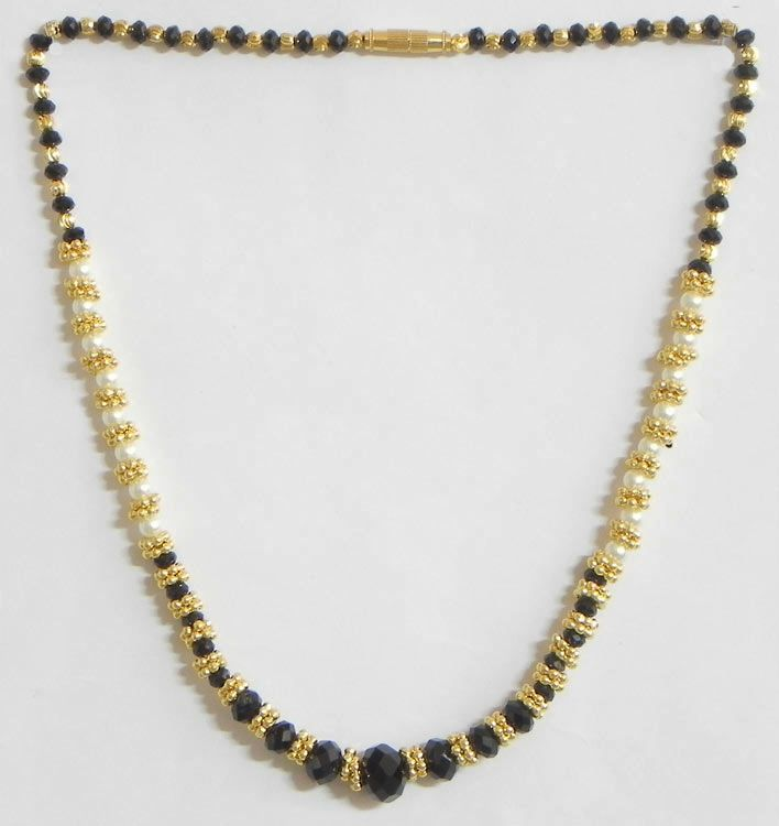 Gold Plated Mangalsutra with Black Crystal and White Bead | White ...
