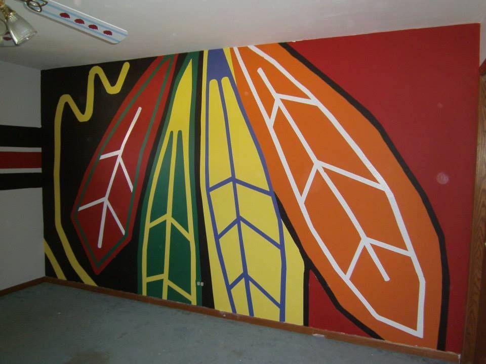 Chicago Blackhawks painted wall logo | NHL News | Pinterest ...