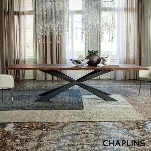 Cattelan Italia Spyder Wood Dining Table with Matt Graphite Varnished Steel Base