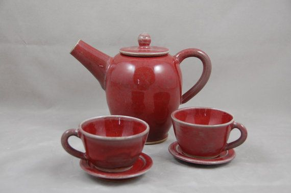 Tea Set for Children Copper Red with Cups and by moonstarpottery, $60.00