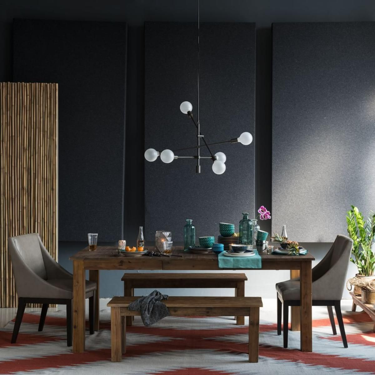 Light collaborating with wooden materials in the living dinning room - Part Of An Exclusive Collection Of Handwoven Rugs Created In Collaboration With Santa Fe S Museum Of Indian Arts Culture Miac The Crossroads Dhurrie S