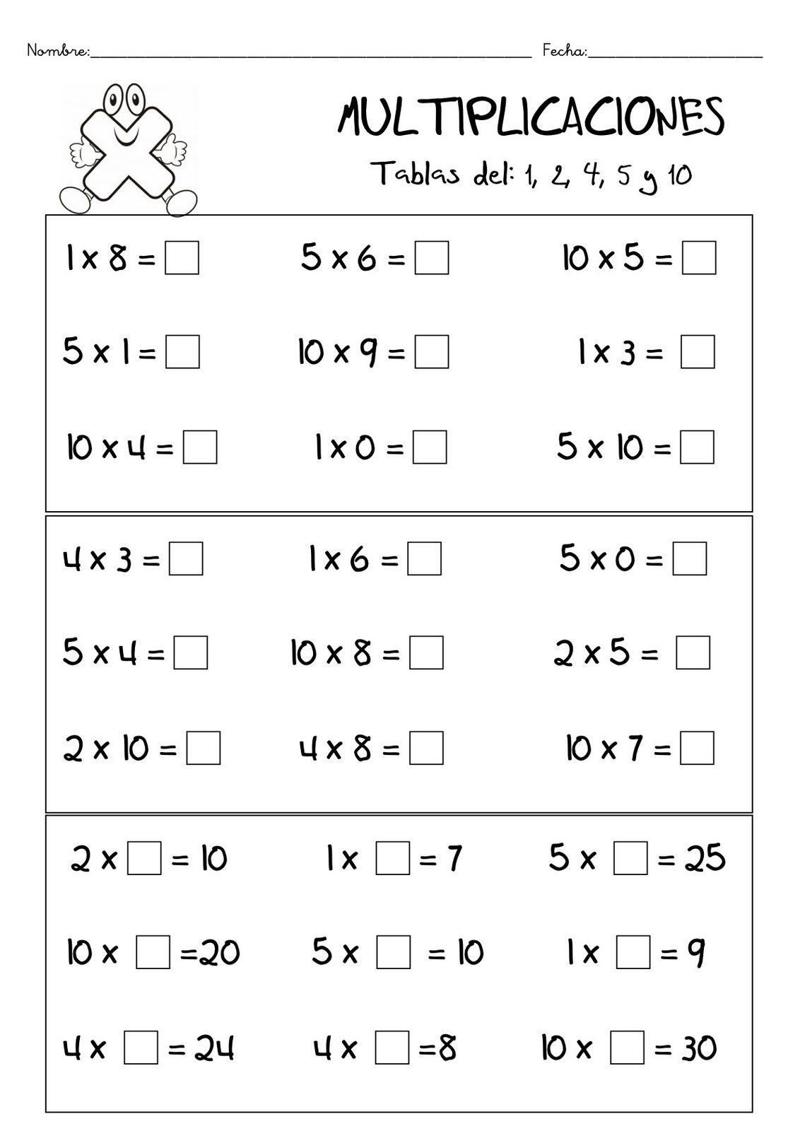 Fichas De Matematicas Multiplicacion Tablas De Multiplicar Ejercicios Primaria